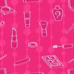 Cartoon Cosmetics Seamless Background — Stock Vector
