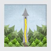 Una ilustración de recorte de papel capas estilizada del cuento rapunzel. nota: este archivo es eps10. usa transparencias, malla de degradado y máscaras de recorte. — Vector de stock