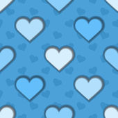 Blue 3d Hearts Seamless Background — Stock Vector
