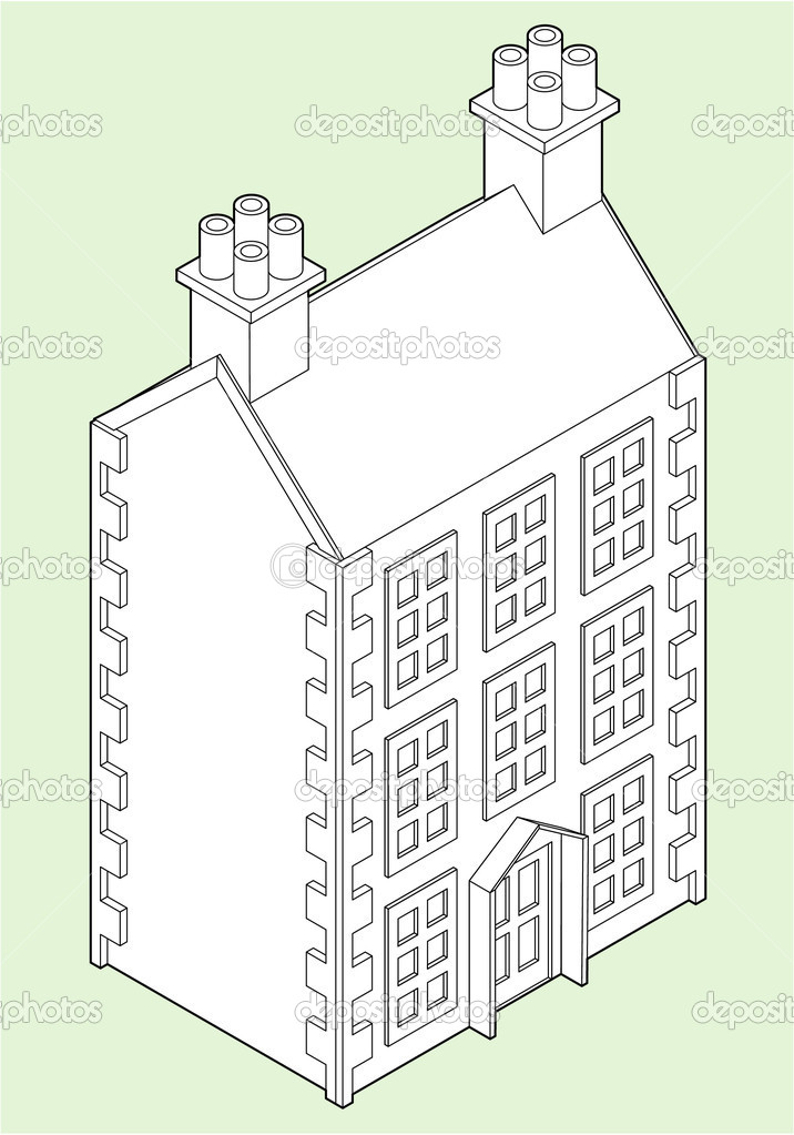 Isometric House Drawings Isometric Drawing of a Three