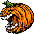 Stock Vector: Screaming Halloween Jack-O-Lantern Pumpkin Head Cartoon Vector I