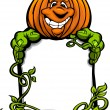 Happy Halloween Jack-O-Lantern Pumpkin Holding Sign Cartoon Vect - Stock Vector