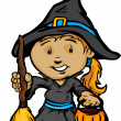 Cute Halloween Girl In Witch Costume Cartoon Vector Illustration — Stock Vector