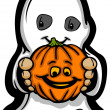 Cute Halloween Kid In Ghost Costume Cartoon Vector Illustration — Stock Vector