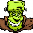 Happy Frankenstein Halloween Monster Head Cartoon Vector Illustr - Stock Vector