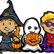 Vector de stock : Cute Halloween Kids In Trick or Treat Costumes Cartoon Vector Il