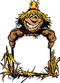 Happy Harvest Scarecrow Holding a Sign Cartoon Vector Illustrati — Stock Vector
