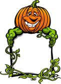 Happy Halloween Jack-O-Lantern Pumpkin Holding Sign Cartoon Vect — Stock Vector