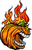 Screaming Halloween Jack-O-Lantern Pumpkin Head with Flames for — Stock Vector