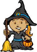 Jolie fille halloween sorcière costume dessin animé vector illustration — Vecteur