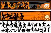 Cadılar bayramı karakter siluetleri vektör çizim — Stok Vektör