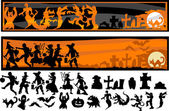 Halloween Character Silhouettes Vector Illustration — Vector de stock