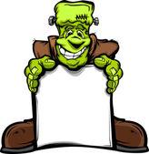 Happy Frankenstein Halloween Monster with Sign Cartoon Vector Il — Stock Vector
