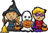 Cute Halloween Kids In Trick or Treat Costumes Cartoon Vector Il — Vector de stock