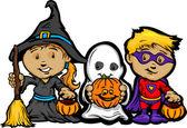 Lindos niños halloween en truco o trato de dibujos animados disfraces vector il — Vector de stock
