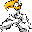 Aggressive Pelican or Seagull with Crossed Arms Cartoon Vector I - Stock Vector