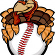 Baseball or Softball Happy Thanksgiving Holiday Turkey Cartoon V — Stock Vector #13858083