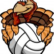 Volleyball Thanksgiving Holiday Happy Turkey Cartoon Vector Illu — Stock Vector