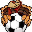 Soccer Thanksgiving Holiday Happy Turkey Cartoon Vector Illustra — Stock Vector
