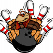 Bowling Thanksgiving Holiday Turkey Cartoon Vector Illustration — Stock Vector