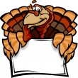 Happy Thanksgiving Holiday Turkey Holding Sign Cartoon Vector Il — Stock Vector