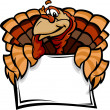 Happy Thanksgiving Holiday Turkey Holding Sign Cartoon Vector Il — Stock Vector #13858121