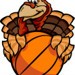 basketball happy thanksgiving holiday turkey cartoon vector illu — Stock Vector
