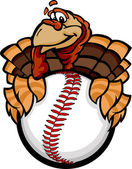 Baseball or Softball Happy Thanksgiving Holiday Turkey Cartoon V — Stock Vector