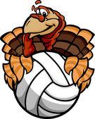 Volleyball Thanksgiving Holiday Happy Turkey Cartoon Vector Illu — Stock Vector