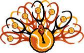Tennis Thanksgiving Holiday Turkey Graphic Vector Illustration — Stock Vector