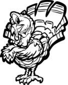 Happy Thanksgiving Holiday Turkey Cartoon Vector Illustration — Stock Vector