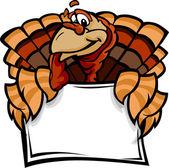 Happy Thanksgiving Holiday Turkey Holding Sign Cartoon Vector Il — Stock Vector