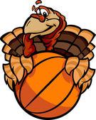 Basketball Happy Thanksgiving Holiday Turkey Cartoon Vector Illu — Stock Vector