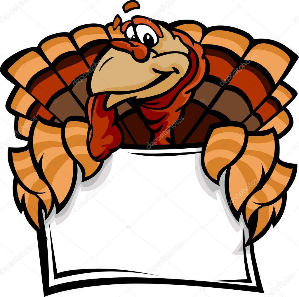 Cartoon Vector Image of a Thanksgiving Holiday Turkey Holding a Sign — Stock Vector #13858121