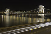 Chain Bridge at night in Budapest — Stock Photo