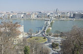 Chain bridge in Budapest, with St. Stephen's basilica — Stock Photo