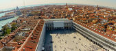 Aerial view of Venice city from the top of the bell tower at the — Stock Photo