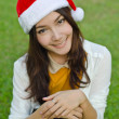 Beautiful young santa clause woman — Photo