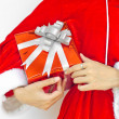 Santa claus hat with red  christmas gift box — 图库照片