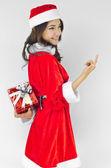 Jultomten hatt med röd jul gåva ruta — Stockfoto