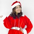 Beautiful young santa clause woman, isolated — Stock Photo