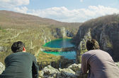 Men enjoy the Plitvice Lakes National Park,Croatia — Stock Photo