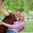 Boy and girl photographed themselves — Stock Photo