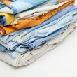 Bedclothes in the stack — Stock Photo