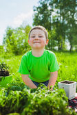 Boy romping in the grass — Stock Photo