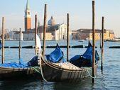 Gondolas in Venice and isle of San Giorgio Maggiore view from St Mark's Square — Stock Photo