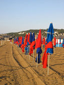 Characteristics colorful beach umbrella on Deauville, Normandy France — Stock Photo