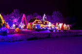 Christmas fantasy - park, forest & lodge in xmas lights — Stock Photo