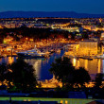 vue de nuit Zadar luxe yacht marina — Photo