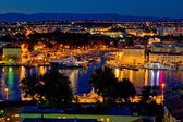 Zadar luxury yacht marina night view — Stock Photo